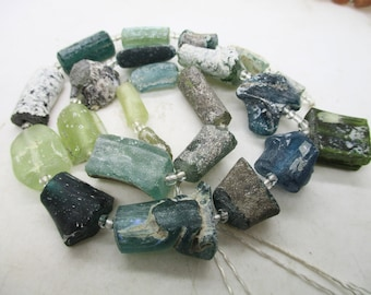 Beautiful Rare Indicolite blue clyndrical Genuine Ancient Roman Fragment  beads 1000-1500 years old G225