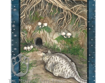 Seven of Earth, (Pentacles) Giclee Print, from Mystical Cats Tarot