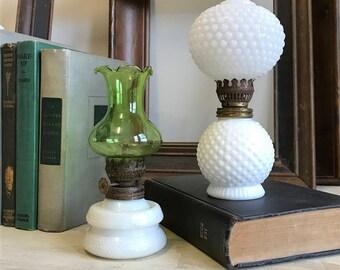 Miniature Milk glass lamp