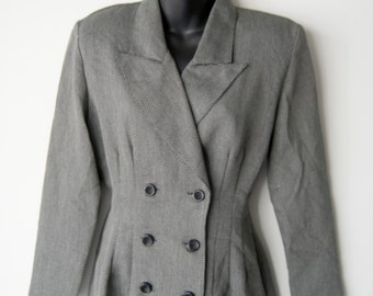 80s Vintage La Belle Fashions Grey Blazer Coat Jacket Size 7