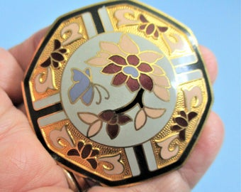 Cloisonne Scarf Slide / Belt Buckle Samuel Huang Floral Accessory Large Asian Signed Jewelry Yellow Red Gold Enamel Cloisonne Octagonal