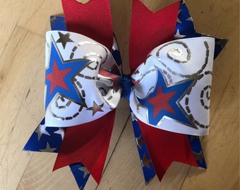 Patriotic stars and sparkles bow