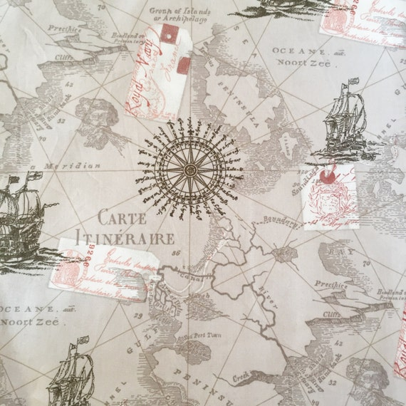 Map fabric by the yard world map fabric vintage map print fabric 200 gumiabroncs Gallery