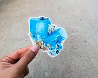 Aquamarine Crystal Sticker, Vinyl Stickers, Laptop Stickers, mineral, crystal, journaling, science, geology minerals sticker)