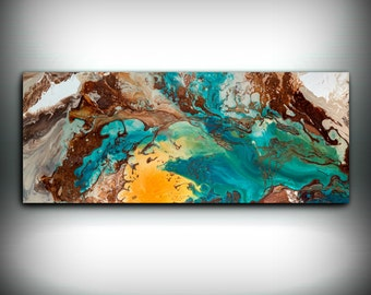 Canvas Wall Decor Large Abstract Wall Art Print Blue Brown Modern Art - Small to Oversized Wall Art, Copper Painting by L Dawning Scott