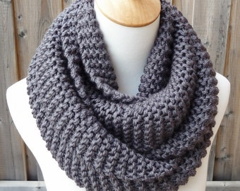 Charcoal Gray Infinity Scarf - Gray Infinity Scarf - Chunky Knit Scarf - Circle Scarf - Ready to Ship