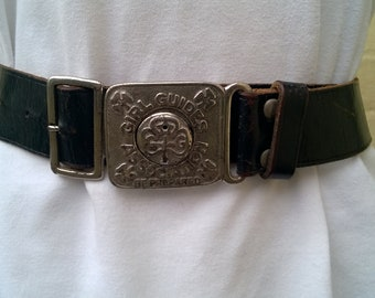 Original Girl Guides belt, 1960s leather with buckle, motto and clips