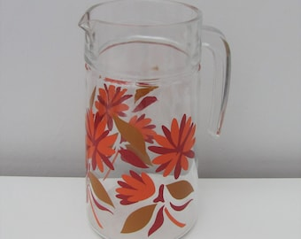 Vintage French Glass Jug/Pitcher with Fab Bold Floral Design 1960s Retro Party Bar Juice Drinks Water Retro
