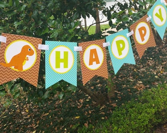 Dinosaur Happy Birthday Banner Printable - Instant Download - DINO-mite Collection
