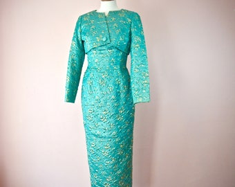 1960s Gold  Lame & Turquoise EVening Gown and Jacket.  WIggle Dress. Size Modern US XS 2 4 -VDS202