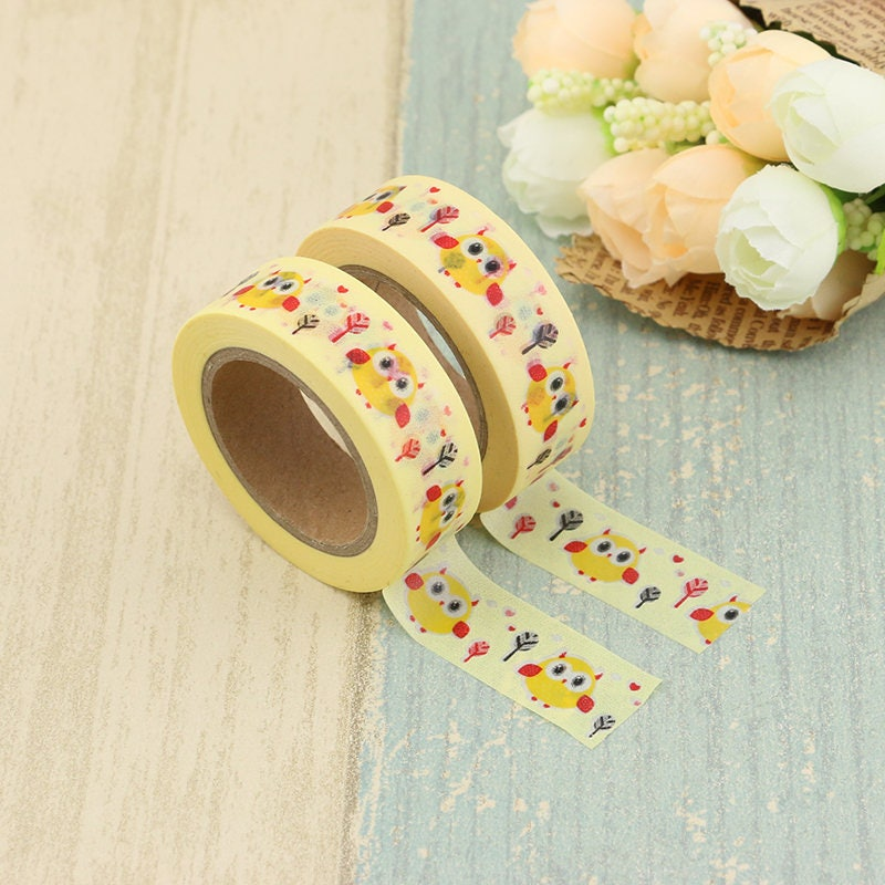 Washi Tape - Owl Washi Tape - Yellow washi Tape - Paper Tape ...