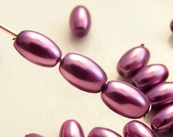 6x4mm Glass Pearl Beads Rice Berry Wine (Qty 20) Z-6x4R-BW