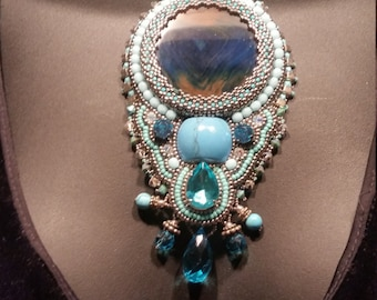 Specialty Piece,Turquoise,Blue Topaz,Nature's stones wearable Art One of a kind Necklace statement piece