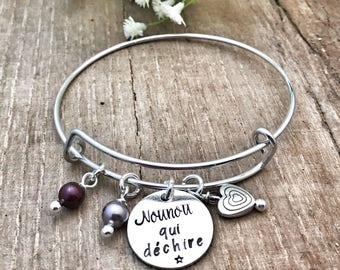 Hand Stamped Personalised French Bracelet, Present End of Term Nounou