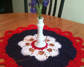 Table Centerpiece Hand-crocheted Americana colors