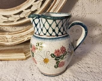 Studio art floral glazed pitcher