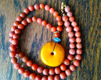 Antique Bee-honey Wax Tibetan Amber Necklace_free shipping