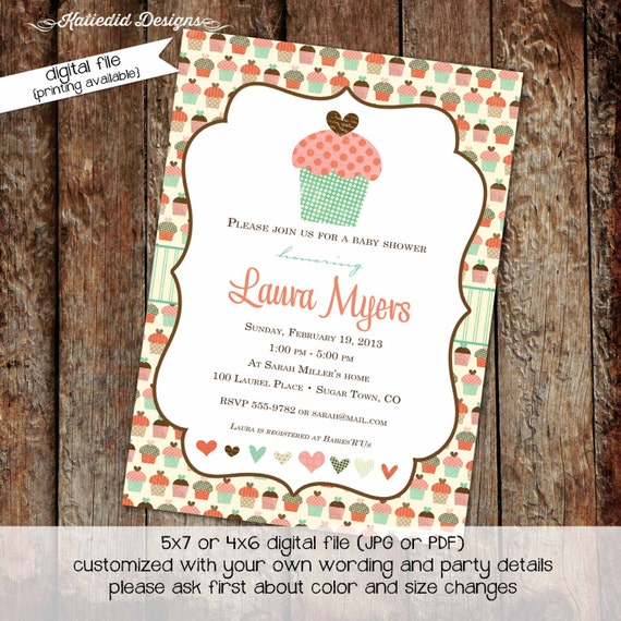 Couples baby shower invitation cupcake 1st birthday girl mint coral diaper and wipes coed sprinkle sip see tea party | 1367 katiedid design