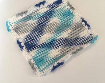 Large Farmhouse Washcloth - Blue Dishcloth - Crochet Washrag -  Tunisian Dishcloth - Spa Cloth - Facecloth - Womens Bath Supplies