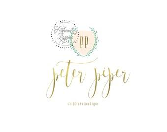 Custom pre-made logo - logo design - calligraphy logo - logo - floral logo - blush logo -  freshmint paperie