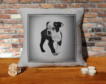 Boston Terrier Puppy Pillow Cushion - 16x16in - Grey