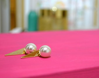 "The ""Daphne"" Pearl & Spike Gold Earrings"