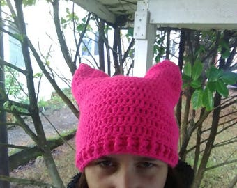 Pink pussy hat, pussyhat, women's march hat, wool blend, acrylic, neon pink, unity, resist, hope, feminism