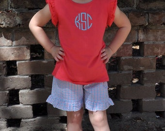 Girls Monogrammed Outfit, Monogrammed Ruffle Top, Ruffle Shorts, Boutique Outfit, Monogram Tee, Ruffle Top Shorts, Monogrammed Outfit