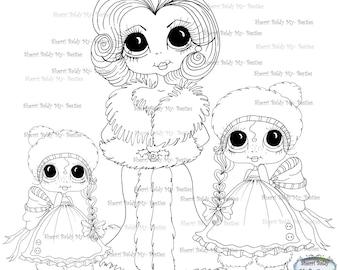 INSTANT DOWNLOAD Digital Digi Stamps Big Eye Big Head Dolls Digi  My - Besties  Christmas Mother and Daughters By Sherri Baldy