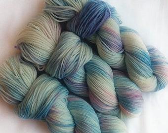Hand dyed yarn, Majestic, 100% polwarth wool yarn, dk weight yarn, purple yarn, white yarn, pink yarn, blue yarn