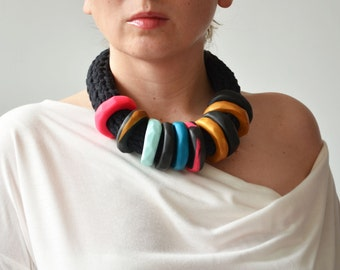 African jewelry, African necklace, African clothing, modern necklace, chunky necklace necklace, African fabric necklace, chunky necklace