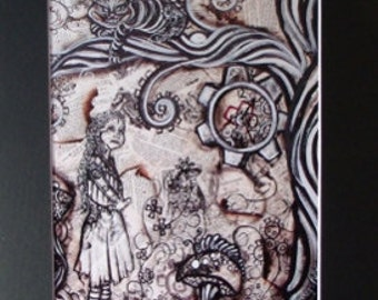 Alice In Wonderland Gears Art Print of Original Artwork Black Matted To 11x14