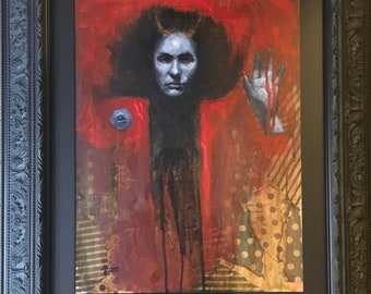 Framed original painting - Portrait of a black magician