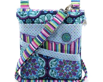 Small Crossbody Bag Purple Turquoise Blue Pink