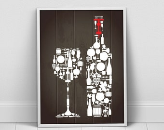 Wine Kitchen Decor, Kitchen Wine Icons Poster, Kitchen Wine Bottle Cup, Kitchen Wine Wall Art, Kitchen Print, Kitchen Art, Kitchen Wine Art