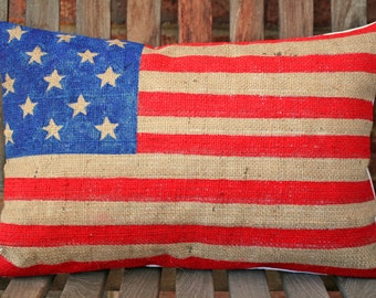 Hand Painted American Flag on Burlap Pillow Cover