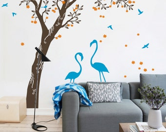 """Tree Wall Decal -  Flamingo under the Tree Wall Sticker - Large Tree decal - Size approx 95"""" x 92"""" - KC044"""