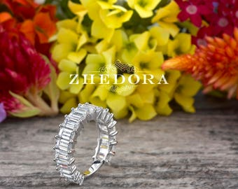 5.0 CT Solid White Gold Emerald Cut Wedding Band, 14k/18k White Emerald Cut Bridal Band, Emerald Cut Wedding Band , Moissanite Eternity Band