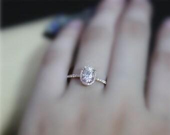 Forever Brilliant Stone, 5x7mm Charles & Colvard Oval Moissanite Engagement Ring, Solid 14K Rose Gold Ring, Wedding Ring, Anniversary Ring