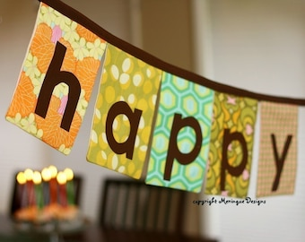 Happy Birthday Fabric Banner in Brown, Green, Orange