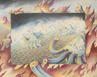 Surreal drawing of Rome burning