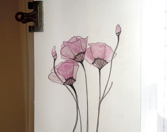 Purple tulips - art print from original watercolor and ink illustration
