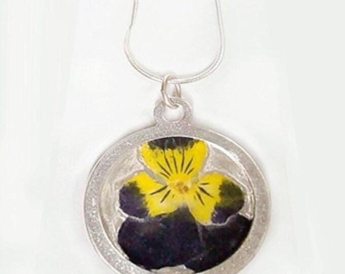 pansies flower silver pendant