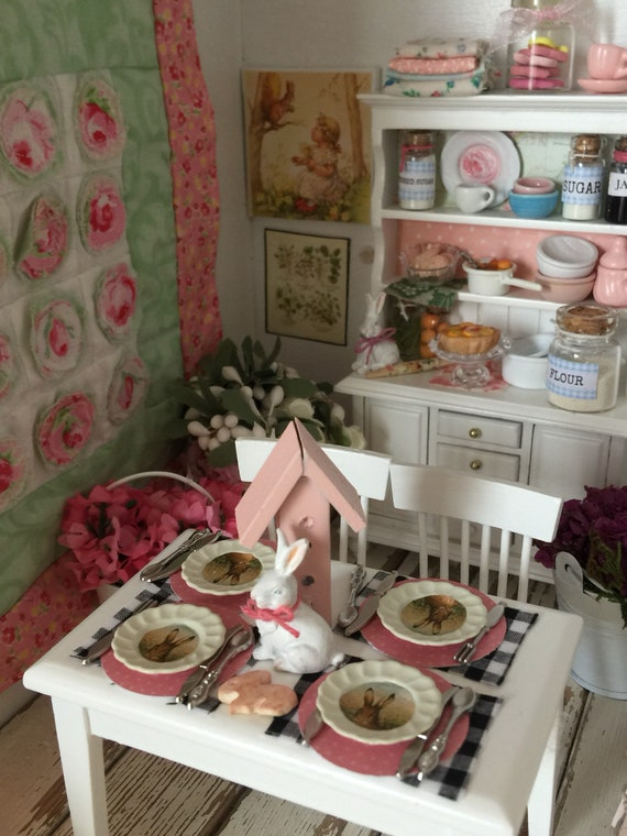 Miniature Spring Bunny Tablescape, Table and 4 Chairs
