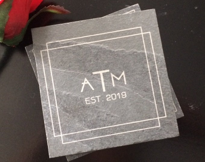 Personalized Slate Coasters - Personalized Engagement Gift, Personalized Wedding Gift, Art Deco Coasters, Initial Coasters, Monogram Coaster