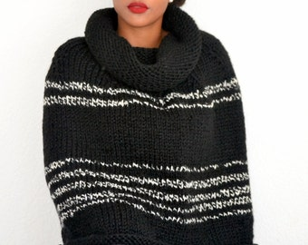 Hand Knit Poncho/ Knit Lounger/ Sweater/ Black and White Poncho
