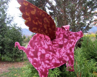 Metal art sculpture flying pig Christmas tree topper folk art recycled metal when pigs fly pink burgundy metallic gold