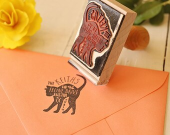 Cat Return Address Stamp, Custom Feline Rubber Stamp, Personalized Pet Address Stamp, Cat Silhouette
