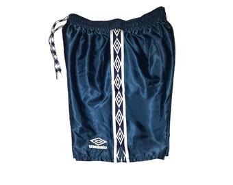 Vintage 90s UMBRO Glanz Football (soccer) Shorts Nylon Shiny  Navy Blue/White  Size S