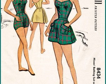 1950s 50s vintage swimsuit sewing pattern pleated one piece halter playsuit bathing suit beach romper swimwear bust 36 b36
